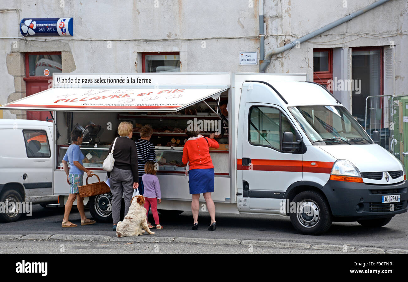 street vendor of country meat selected on the farm Saint Germain l'Herm Puy de Dome Auvergne France - Stock Image