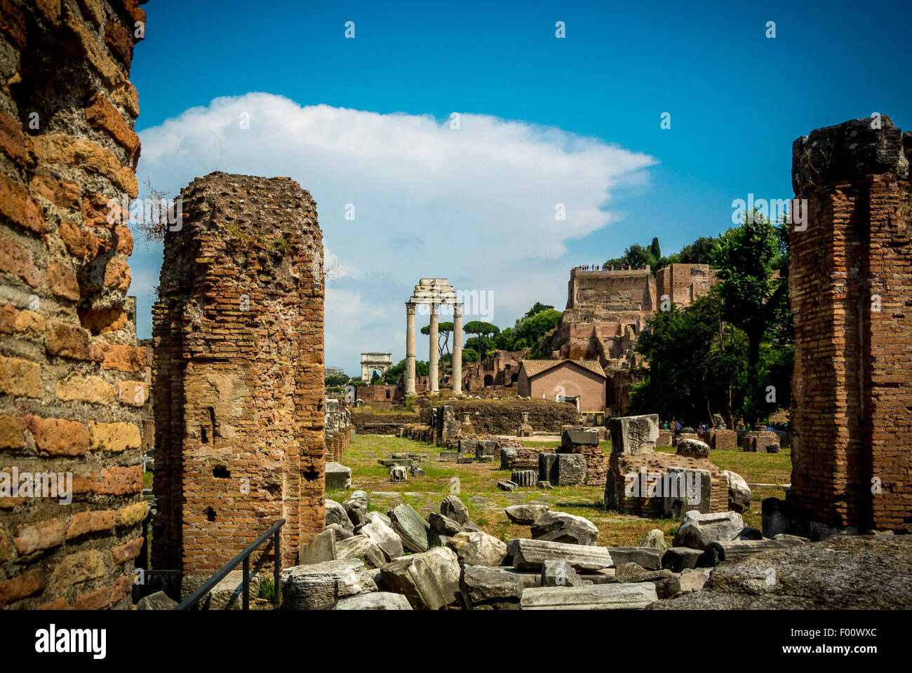 Three Pillars of the Temple of Castor and Pollux in the Roman Forum. - Stock Image