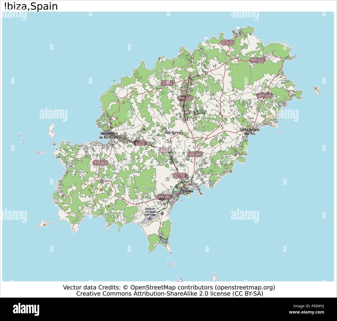 Ibiza Spain Country city island state location map Stock Vector Art