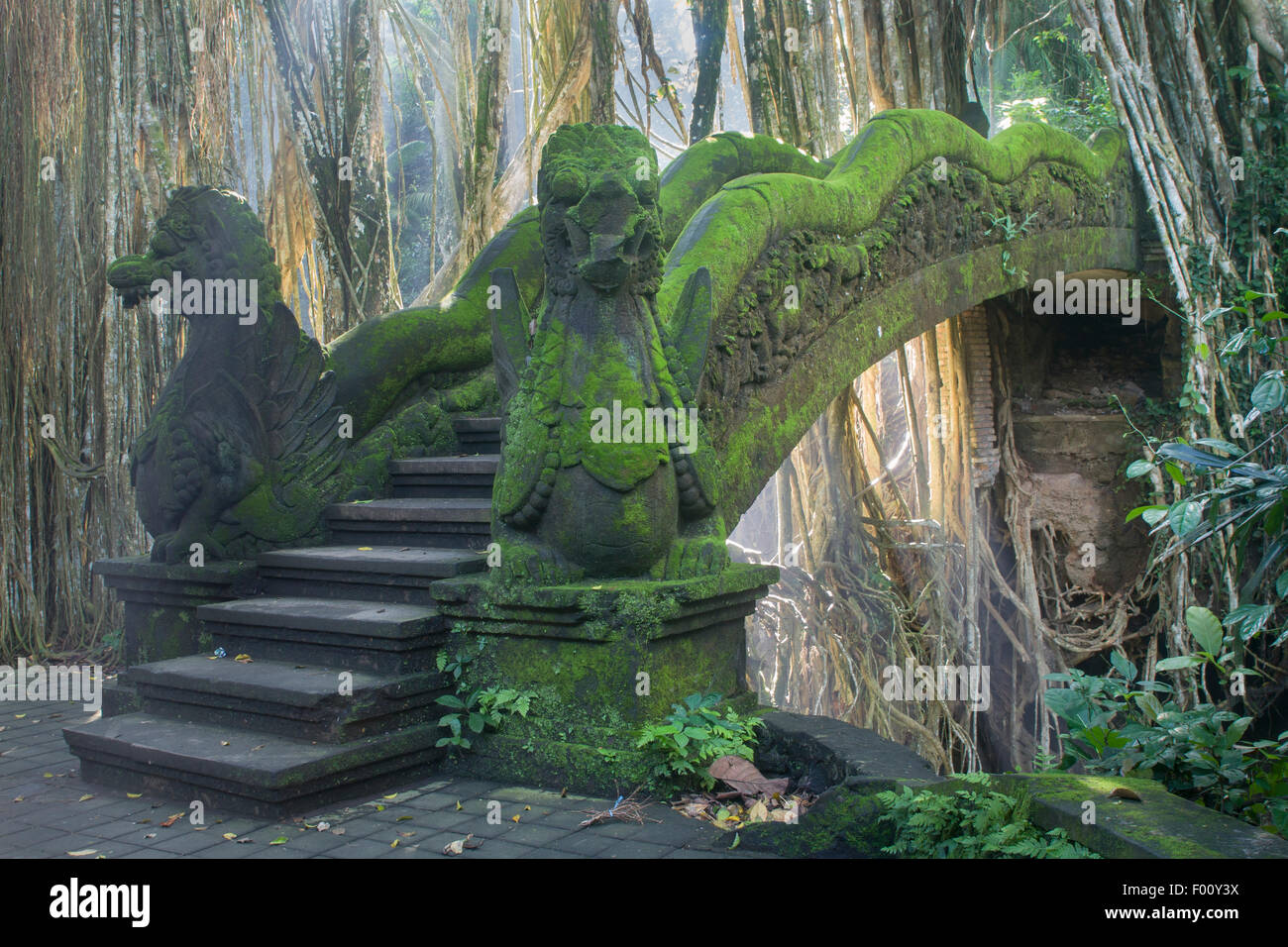 Aerial roots of a banyan tree frame an old bridge in the Sacred Monkey Forest Sanctuary in Bali. - Stock Image