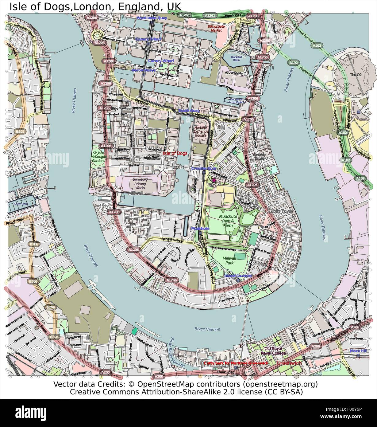 Isle Of Dogs London England Country City Island State Location Map