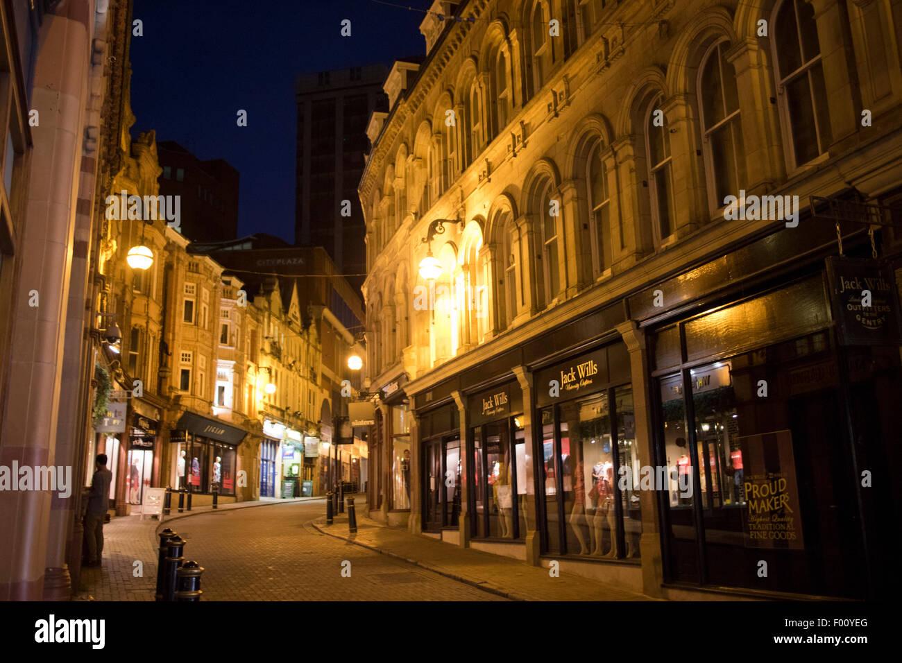 shops on cannon street birmingham city centre at night england uk - Stock Image