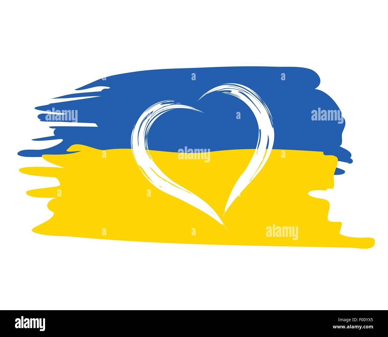 Ukrainian Flag With Heart Shape Symbol Patriotic Illustration Stock