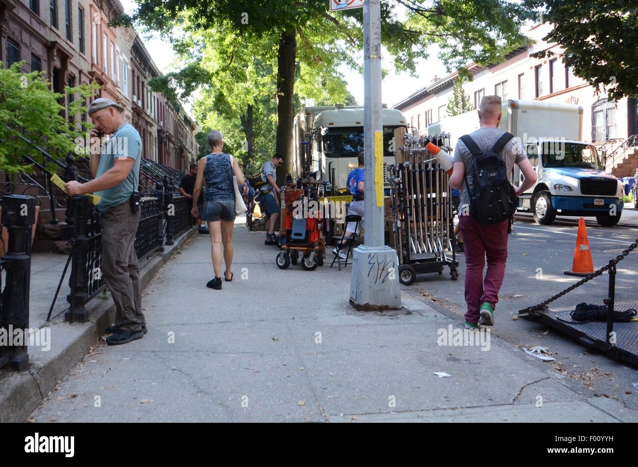 film crew park slope brooklyn the blacklist nbc tv production film set - Stock Image
