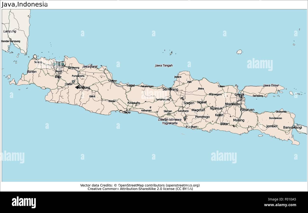 Map Java Island Java island Indonesia area city map aerial view Stock Vector Art