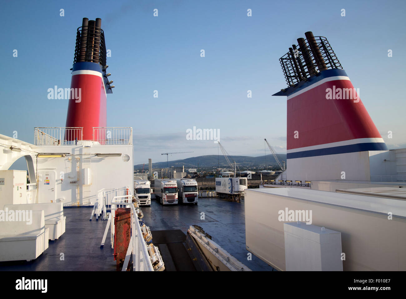 on board the stena adventurer passenger and freight superferry dublin port republic of Ireland - Stock Image