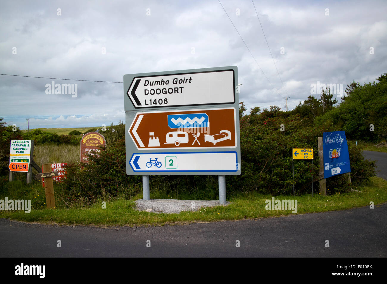 wild atlantic way roadsigns on Achill Island, County Mayo, Ireland - Stock Image