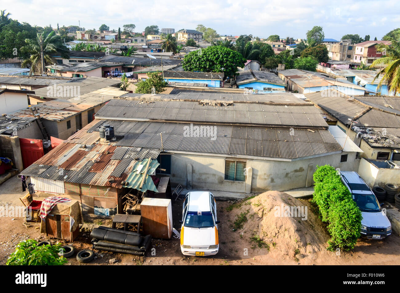 Aerial view of a neighborhood in the west of Accra, Ghana - Stock Image