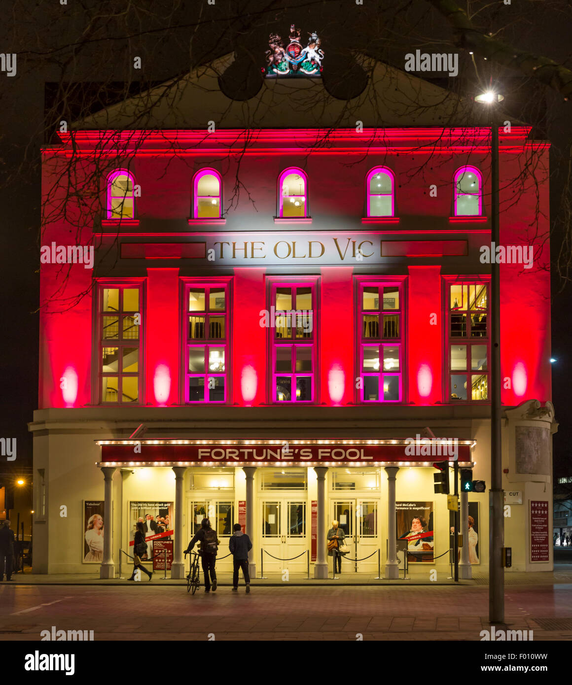 Night view of The Old Vic theatre in The Cut, London, England, UK - Stock Image