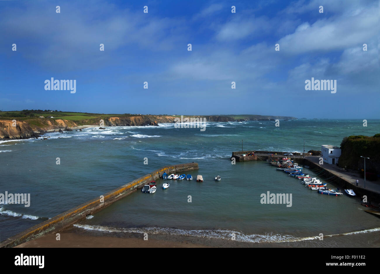 The harbour in Winter, Boatstrand, The Copper Coast Geopark, County Waterford, Ireland - Stock Image