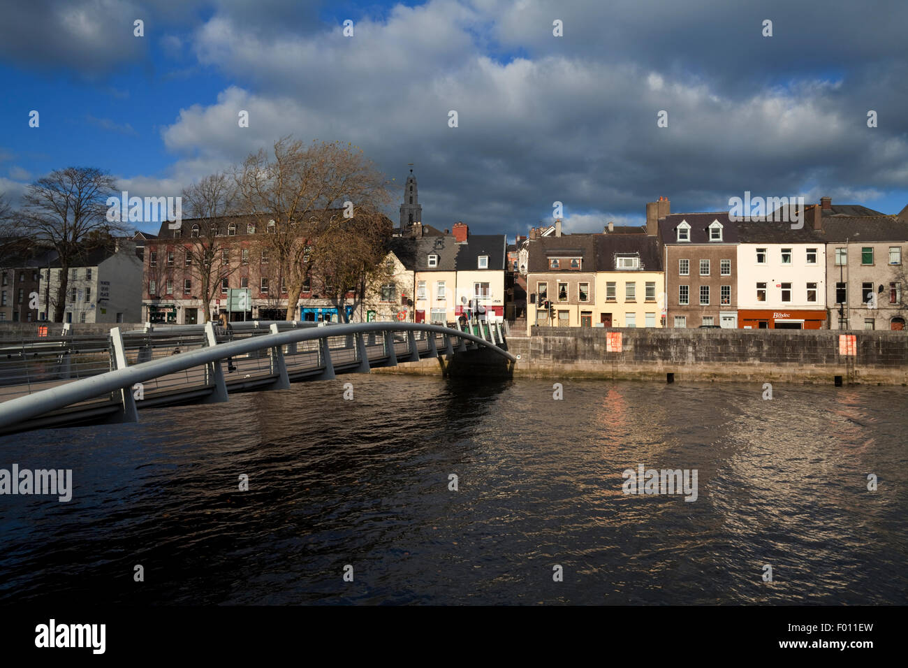 The Millenium Foot Bridge with St Annes Church Behind, Over the River Lee, Cork City, Ireland - Stock Image