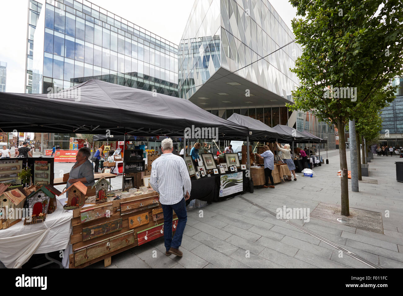 saturday artisan food and craft market in Spinningfields Manchester England UK - Stock Image