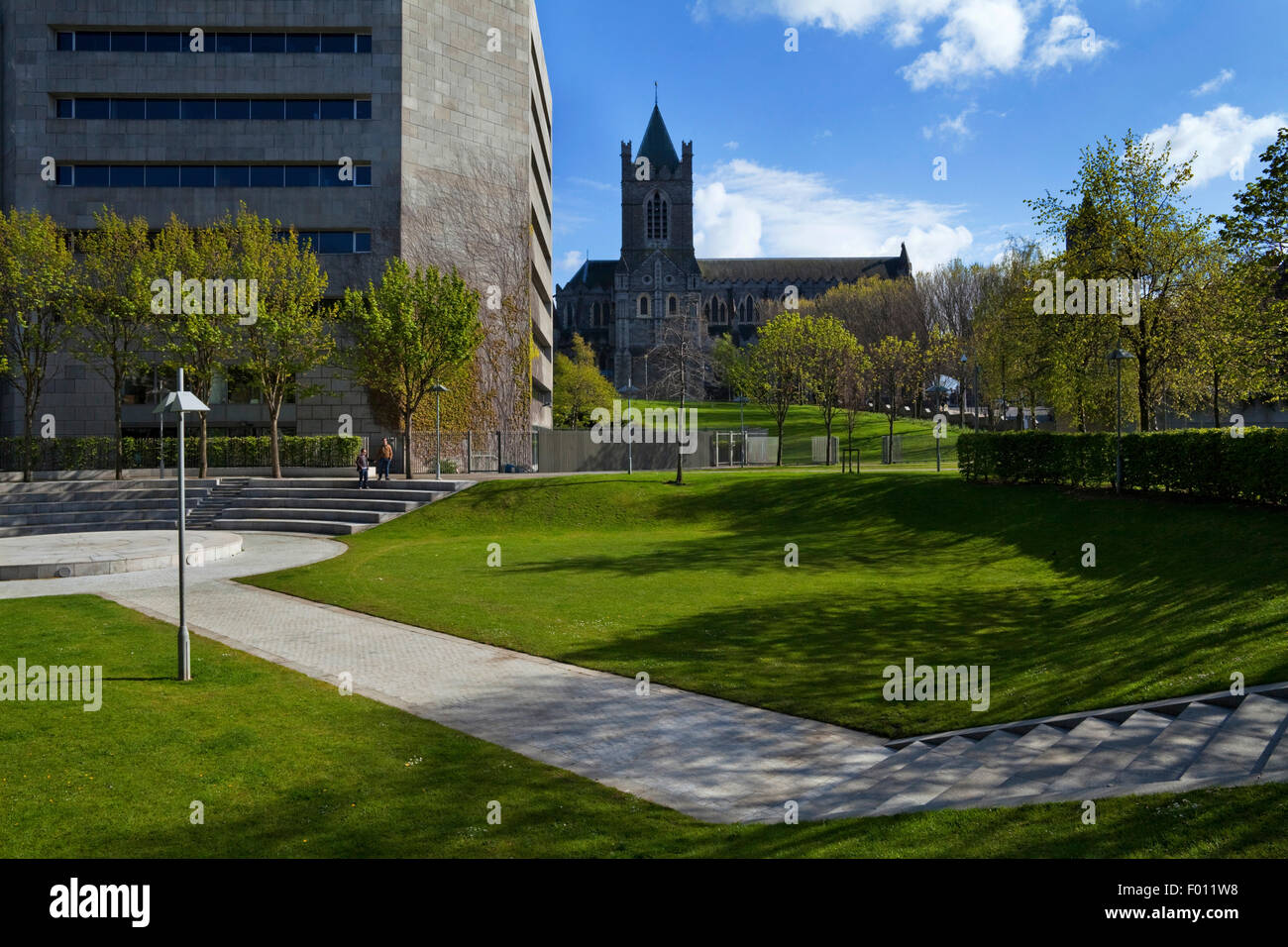 The Park Behind  Dublin Corporation Civic Offices on Wood Quay. With Christchurch Cathedral behind, Dublin City, - Stock Image