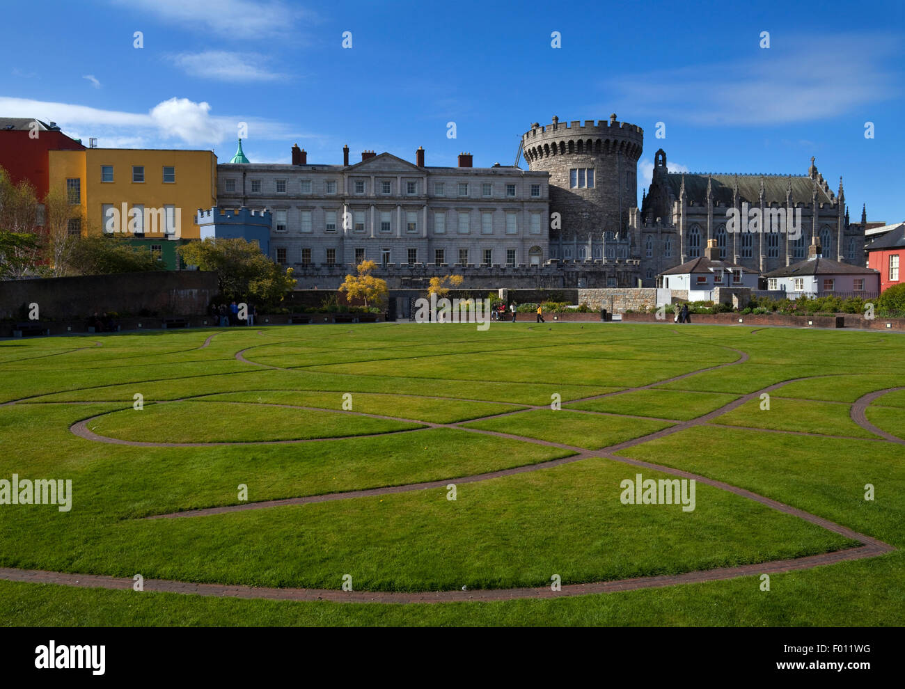 The Record Tower, Chapel Royal and other Buildings, From the Dubh Linn Gardens Behind Dublin Castle, Dublin City, - Stock Image