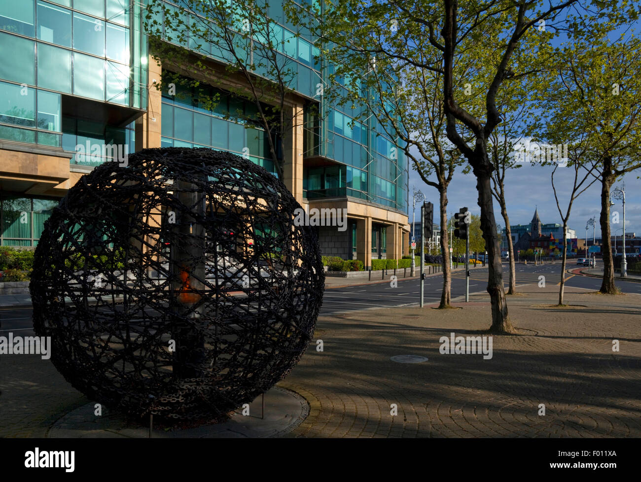 Universal Links on Human Life - Amnesty International Eternal Flame, Next to the IFSC, Amien Street, Dublin City, Stock Photo