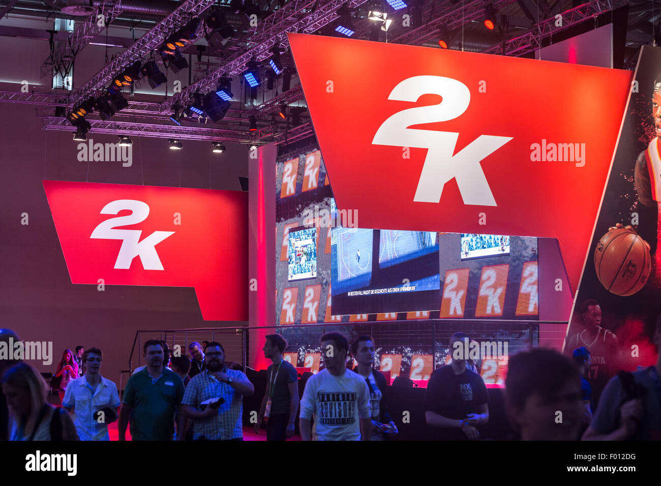 Cologne, Germany  05th Aug, 2015  Visitors at the 2K booth