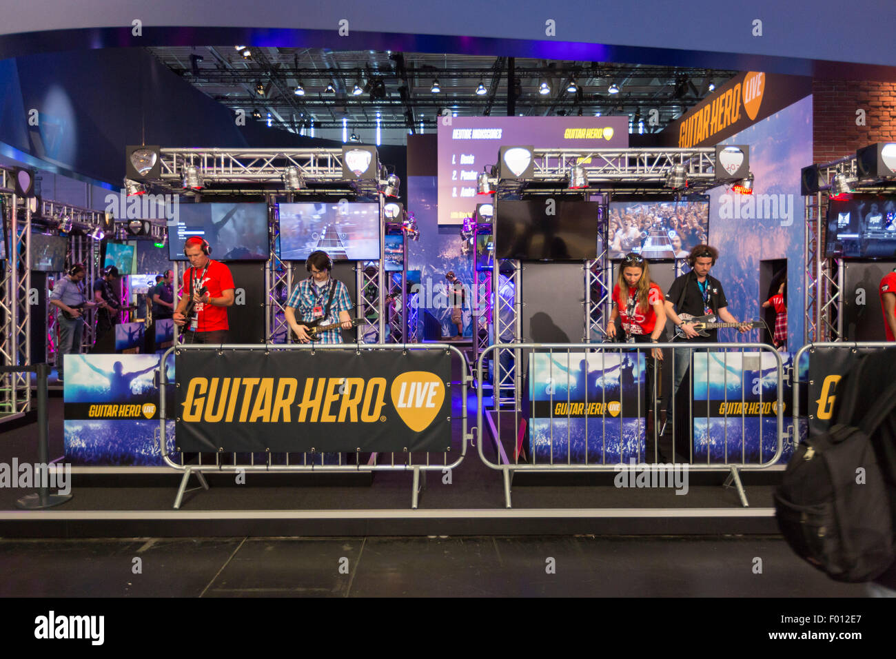 Cologne, Germany. 05th Aug, 2015. Guitar Hero booth at the Gamescom 2015, the world's largest computer and video - Stock Image