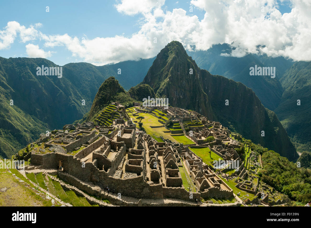Inca Ruins of Machu Picchu from the Guardhouse, Peru - Stock Image