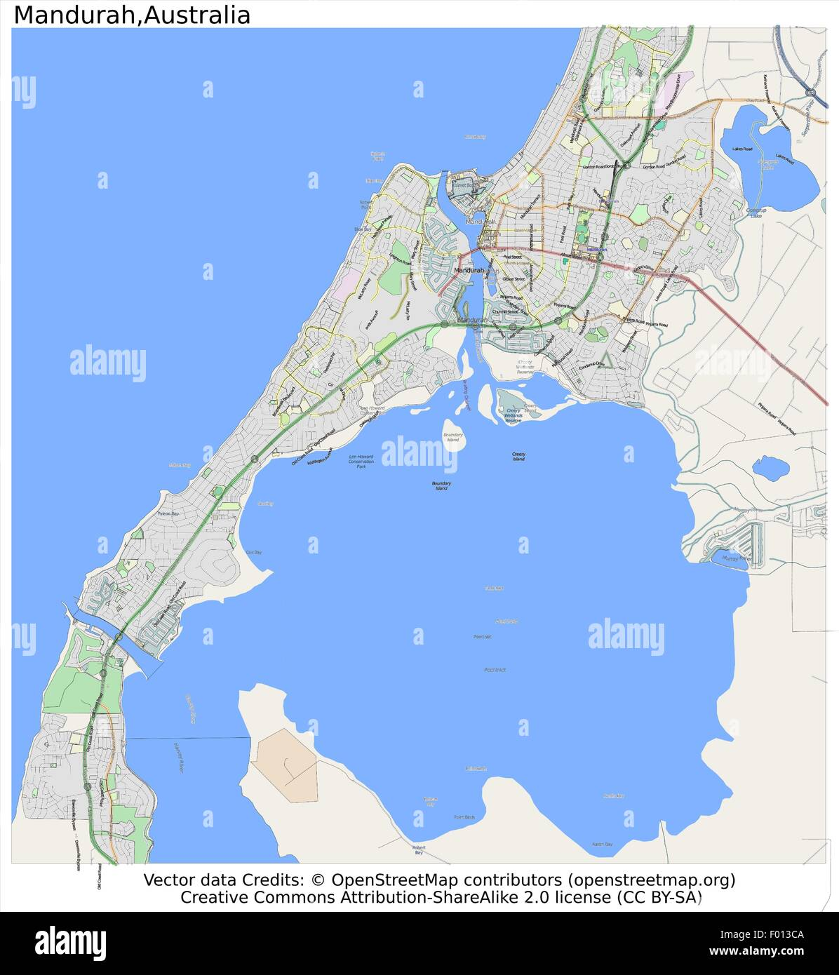 mandurah australia area city map aerial view