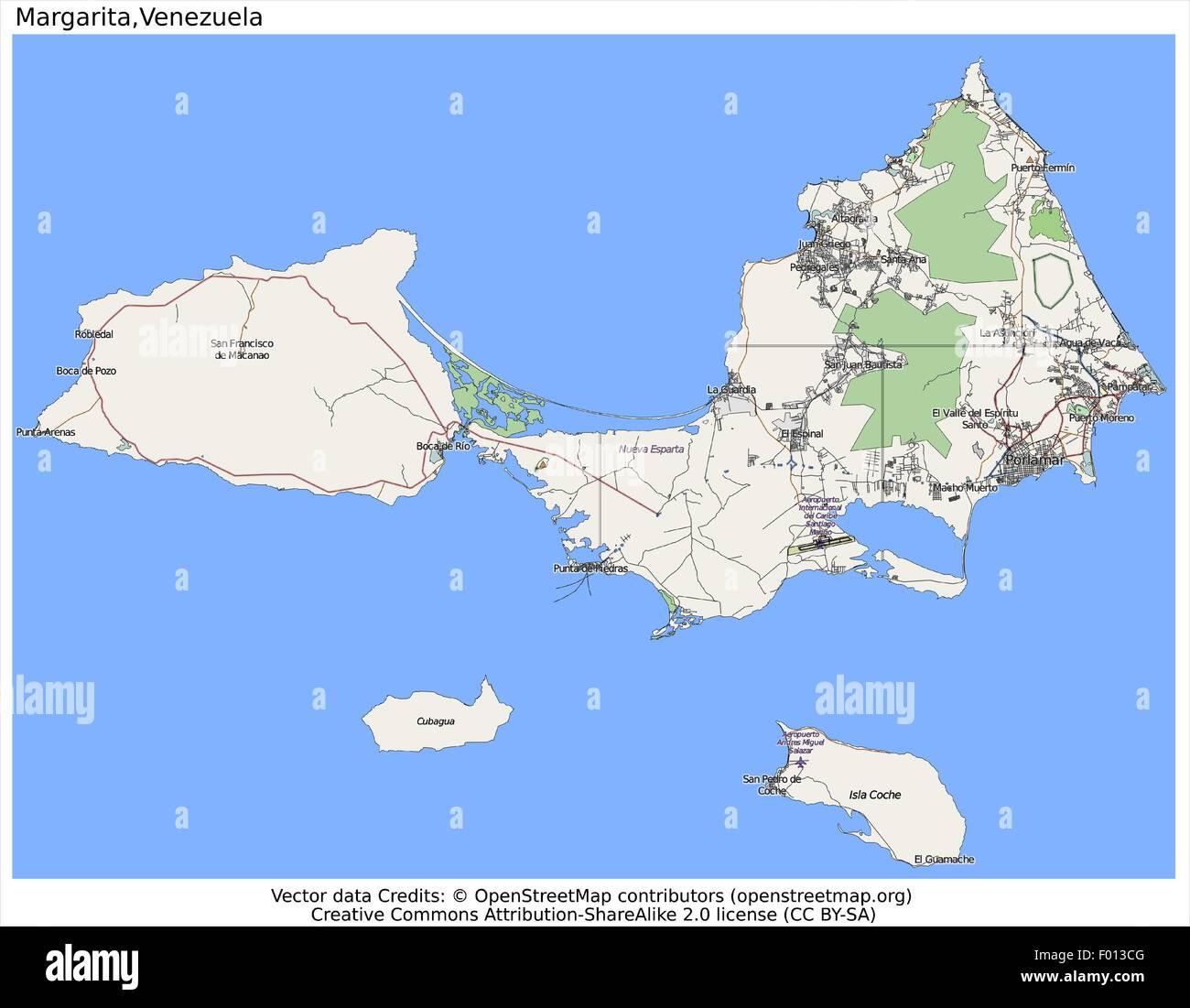 Map Of Margarita Island Margarita Island Venezuela area city map aerial view Stock Vector