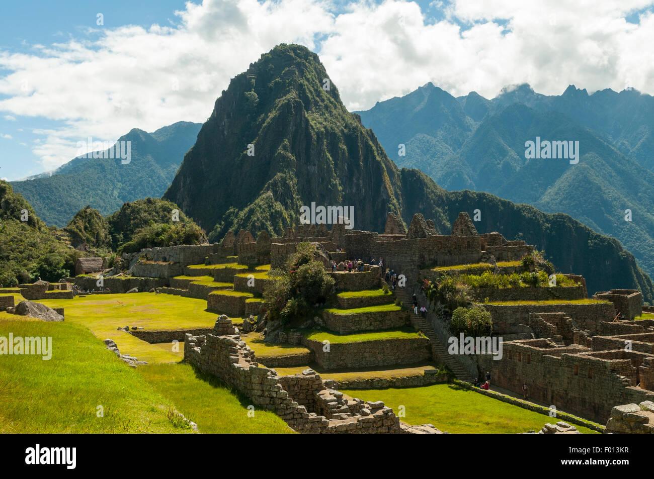 Huaynapicchu at Inca Ruins of Machu Picchu, Peru - Stock Image