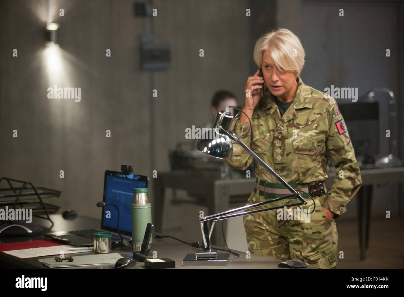 Eye in the Sky is an upcoming thriller film starring Helen Mirren, Aaron Paul, Alan Rickman, and Barkhad Abdi.  - Stock Image