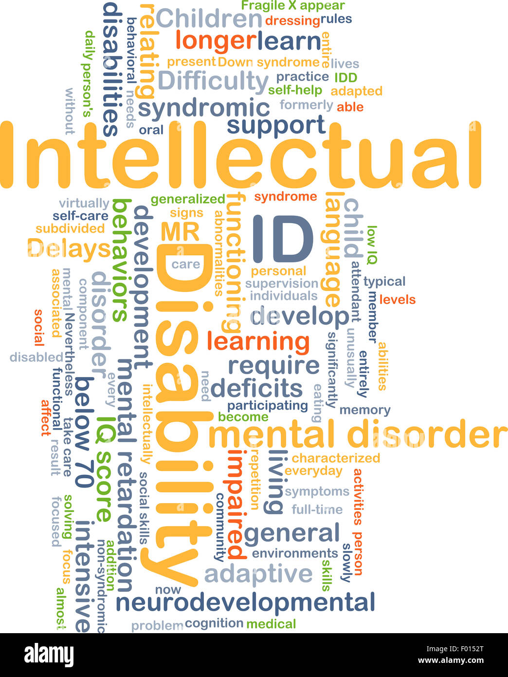 background concept wordcloud illustration of intellectual disability