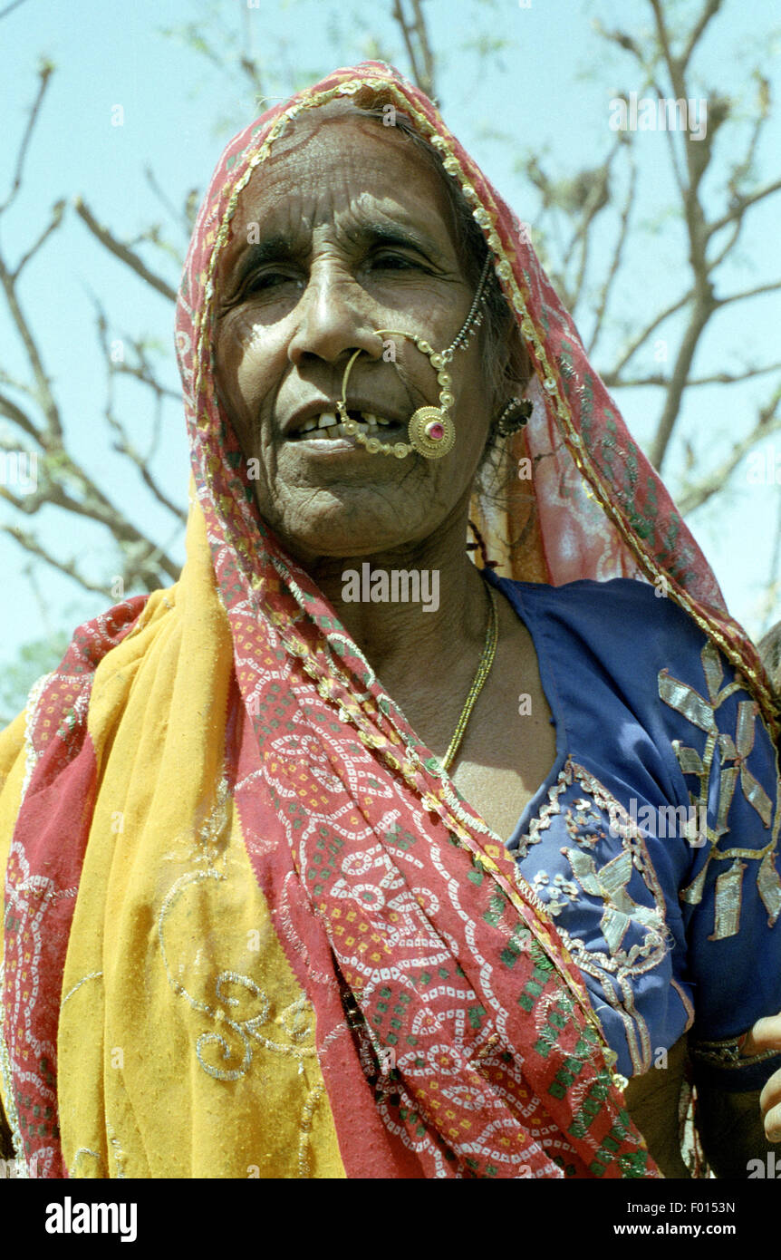 old woman india brian mcguire - Stock Image