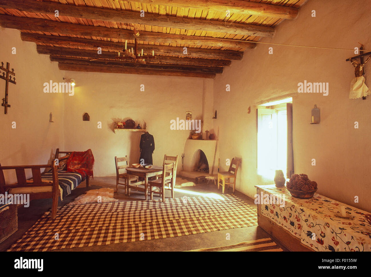living room, Martinez Adobe, Taos, New Mexico Stock Photo ...