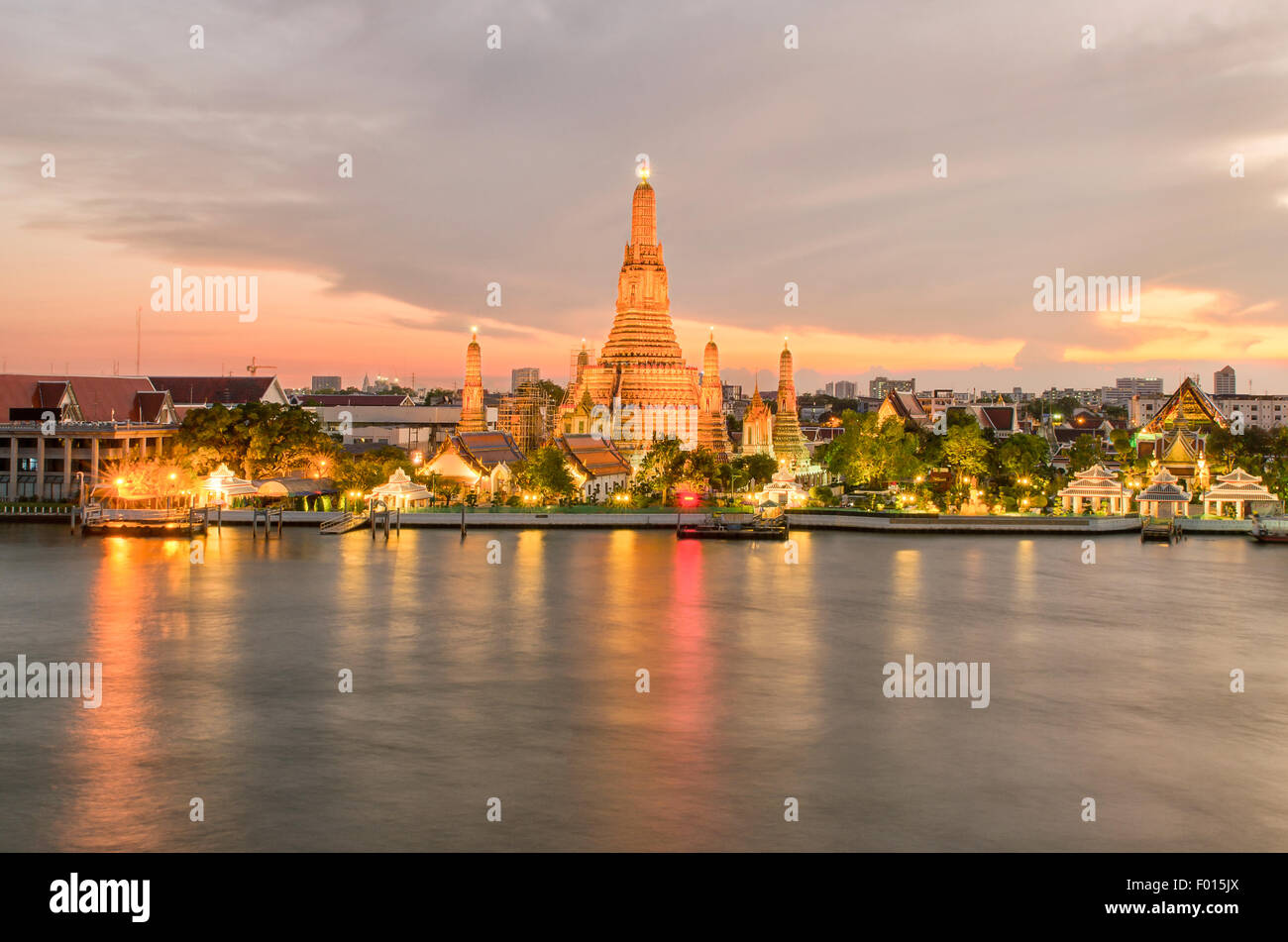 Wat Arun in night ,Bangkok city ,Thailand - Stock Image