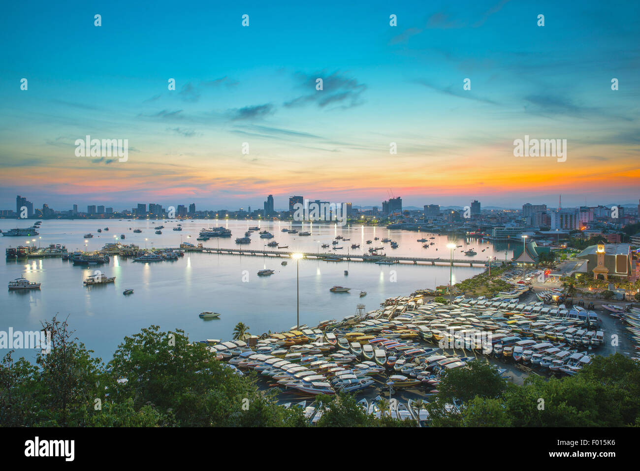 Pattaya City and Sea in Twilight, Thailand - Stock Image