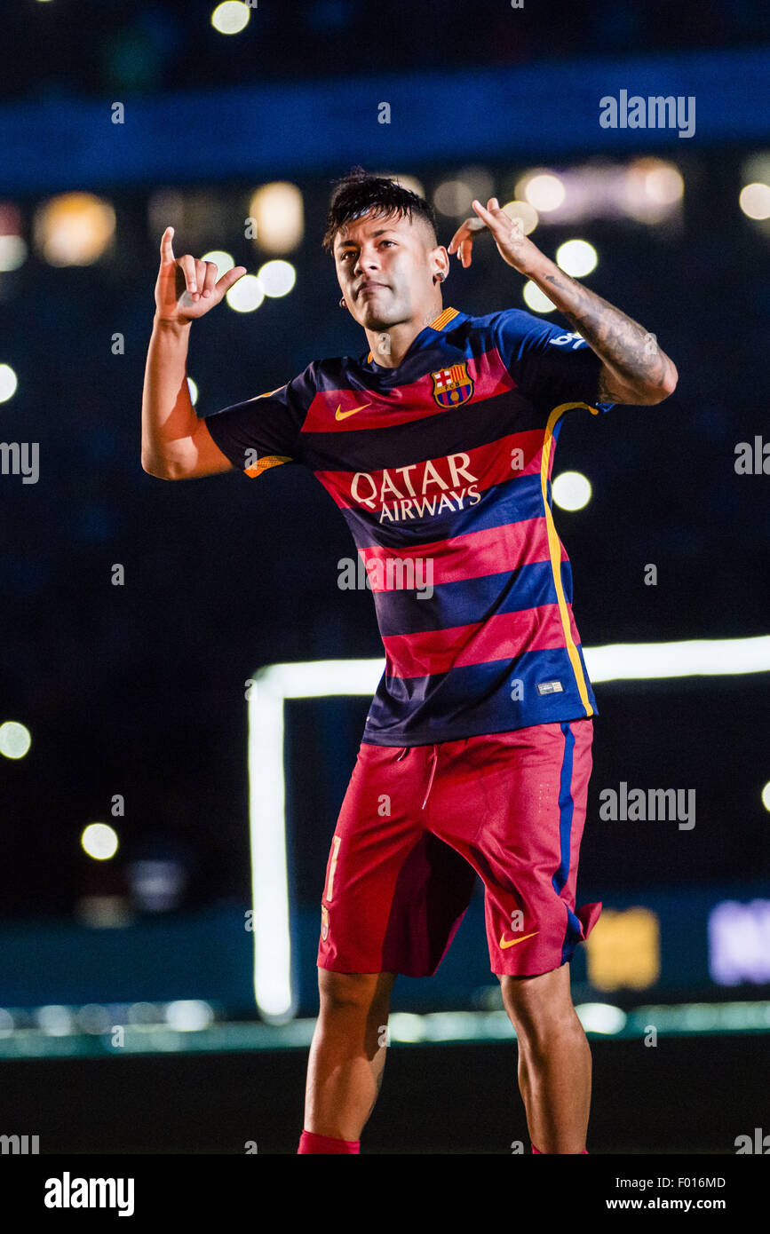 Barcelona, Catalonia, Spain. 5th Aug, 2015. FC Barcelona's forward NEYMAR is presented to the fans ahead of - Stock Image