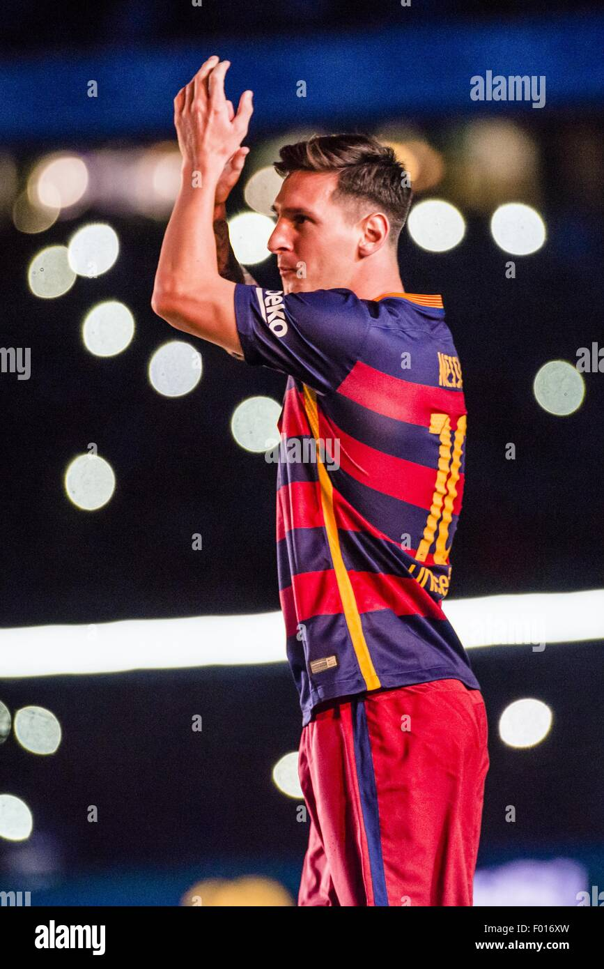 Barcelona, Catalonia, Spain. 5th Aug, 2015. FC Barcelona's forward MESSI is presented to the fans ahead of the - Stock Image