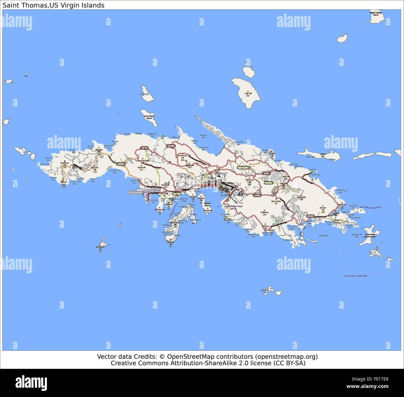 Saint Thomas US Virgin Islands city map aerial view Stock ...