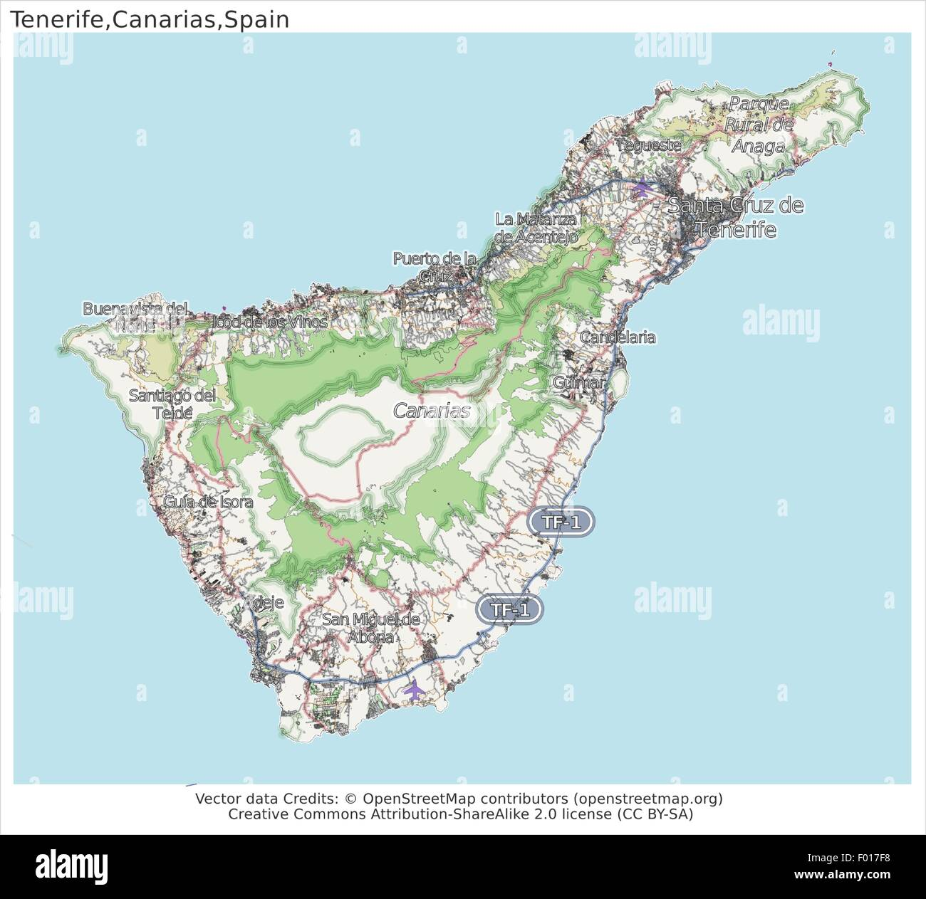 Map Of Spain Tenerife.Tenerife Canarias Islands Spain City Map Aerial View Stock Vector