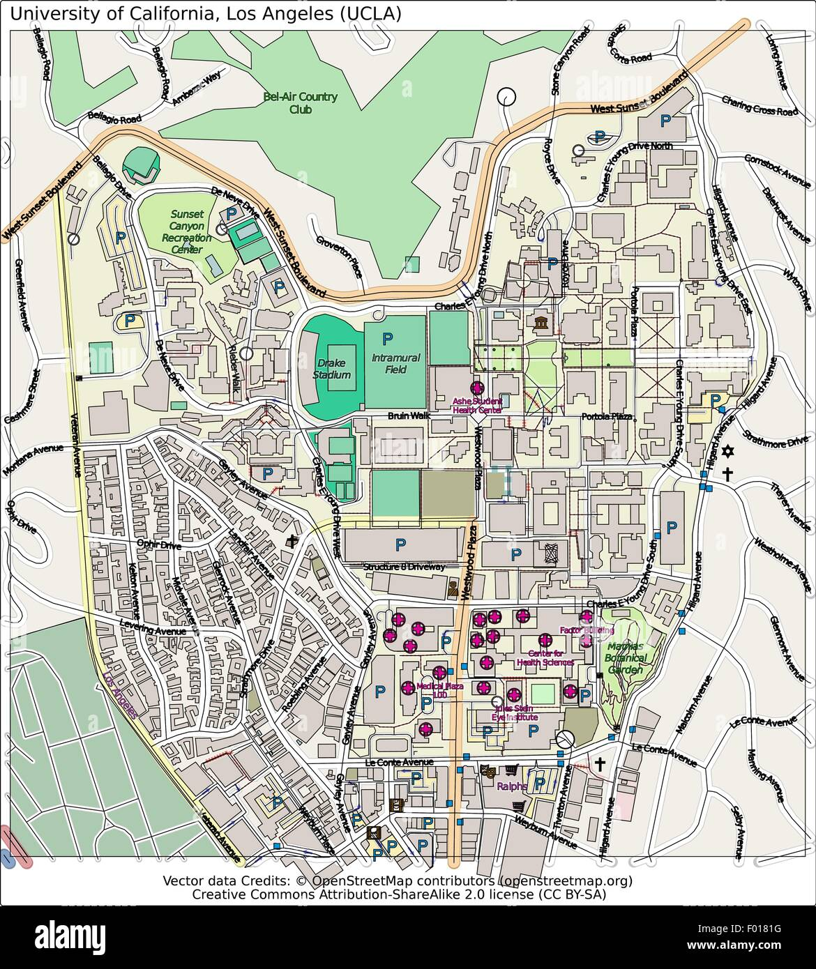 University California Map.University Of California Los Angeles Ucla City Map Aerial View Stock