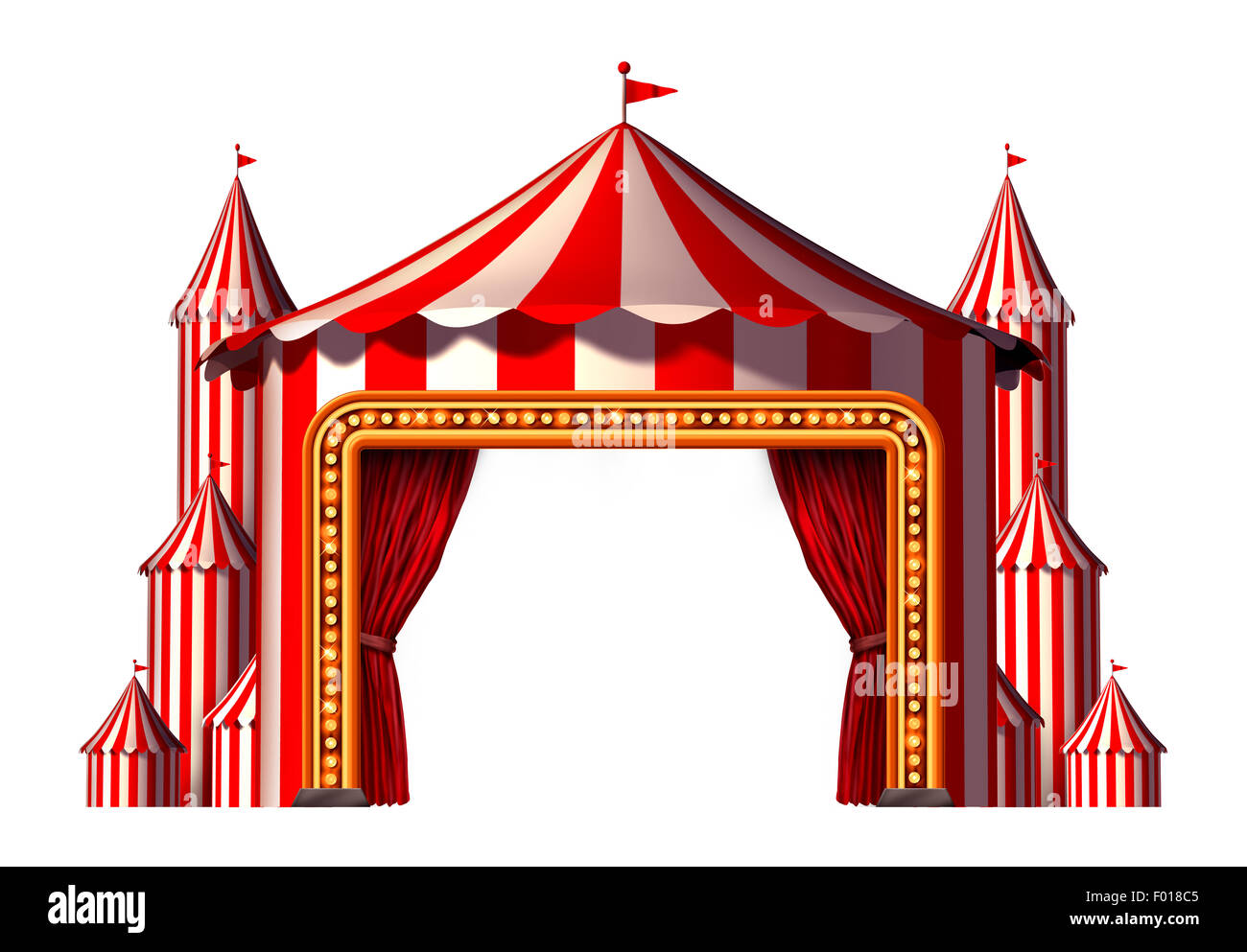 Circus blank space stage tent design element as a group of big top carnival tents with a red curtain opening entrance - Stock Image
