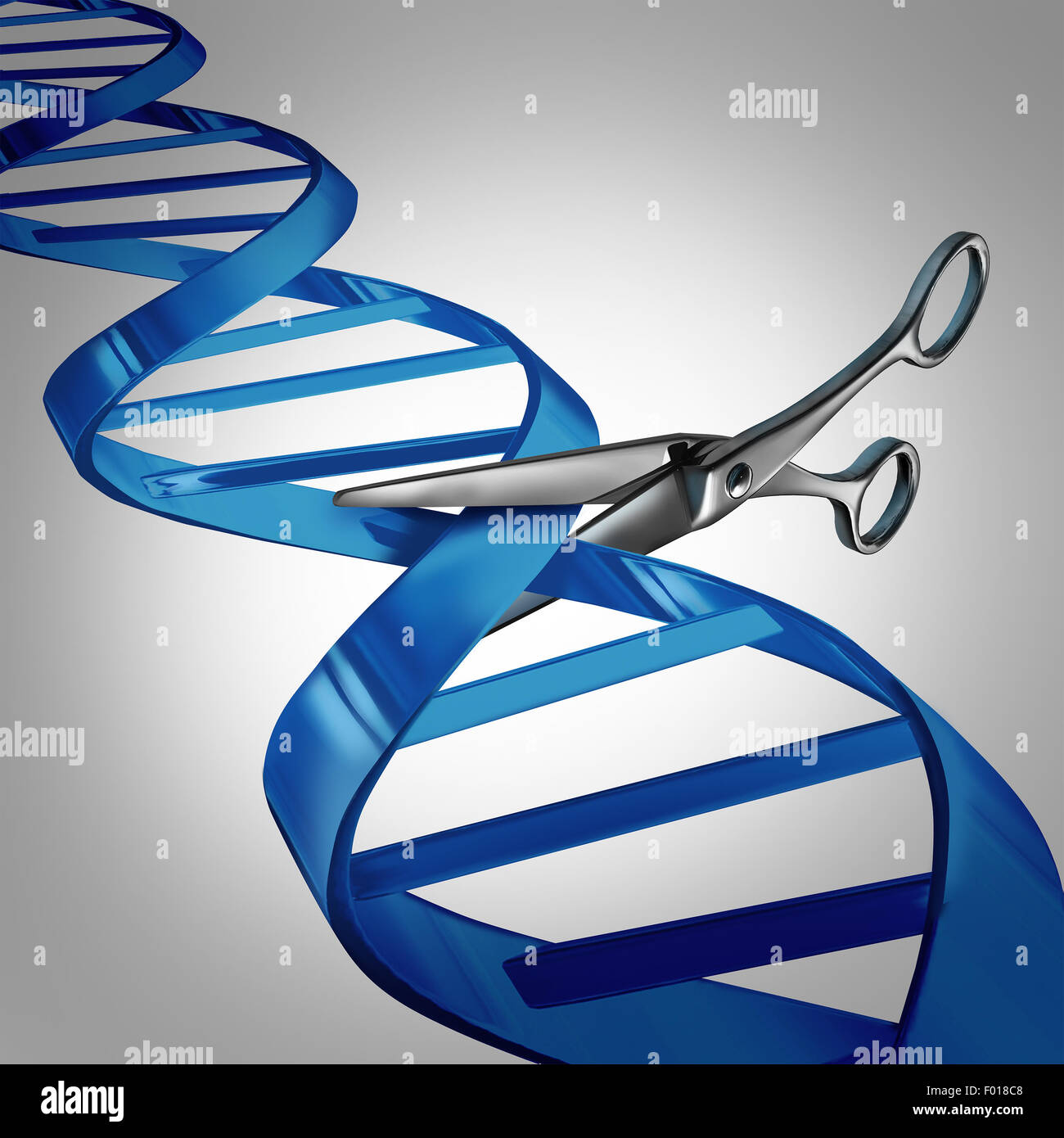 Gene editing health care concept as molecular scissors cutting a dna strand as a medical science and biology technology - Stock Image