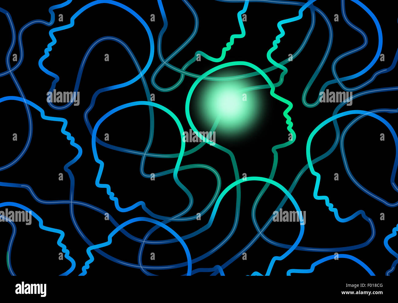 Social psychology concept as a group of connected network of people icons with one individual brain illuminated - Stock Image