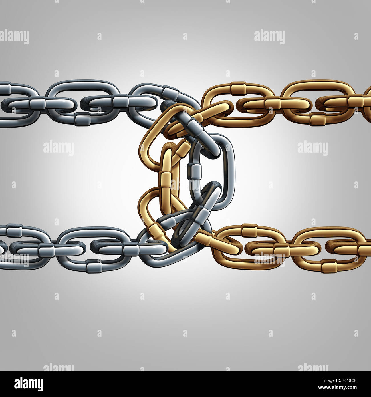 Unity chain connected concept as two different groups of chains tied and linked together as an unbreakable connection - Stock Image