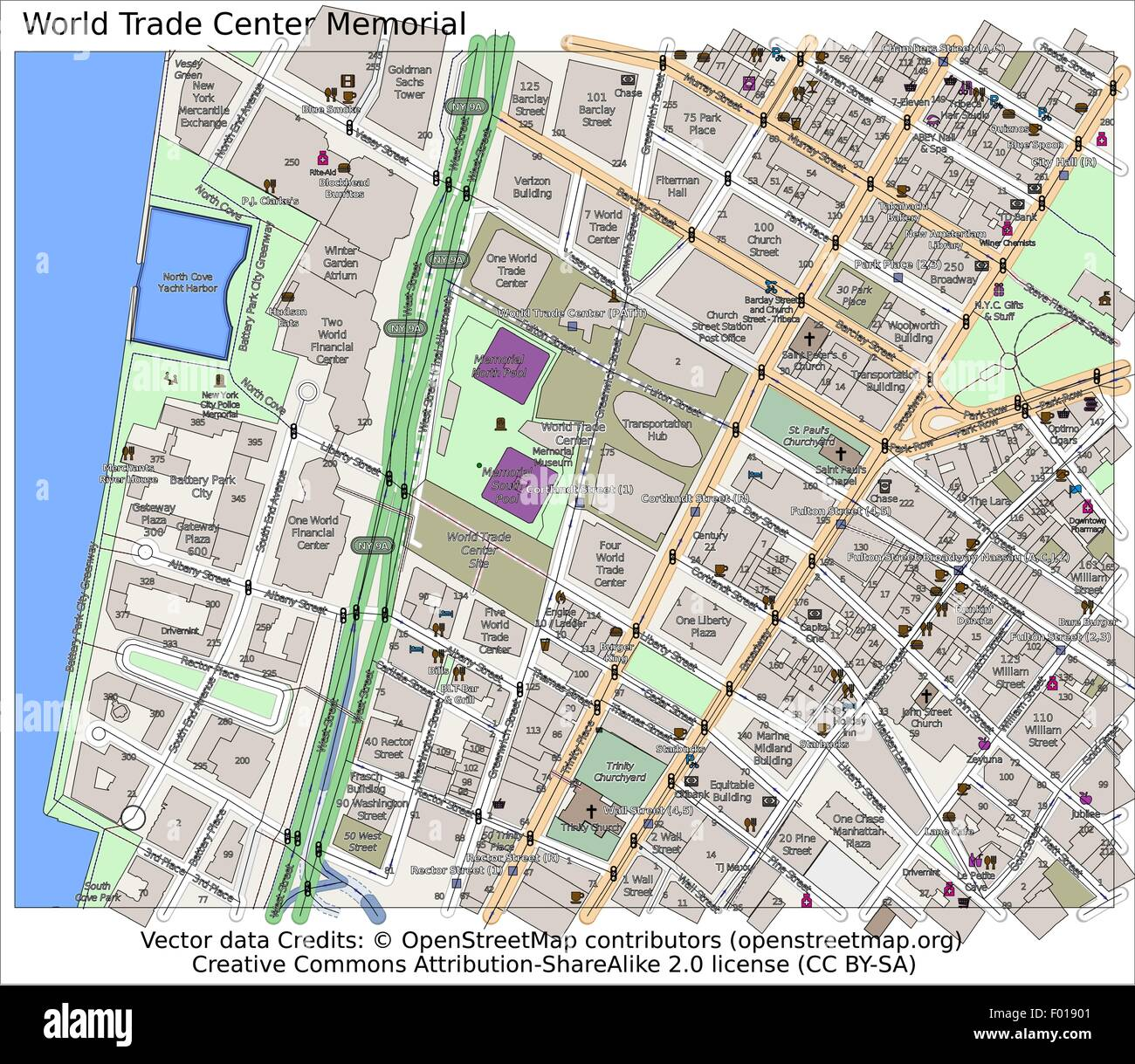 Map Of New York Sites.World Trade Center Memorial Site New York City Map Aerial View Stock