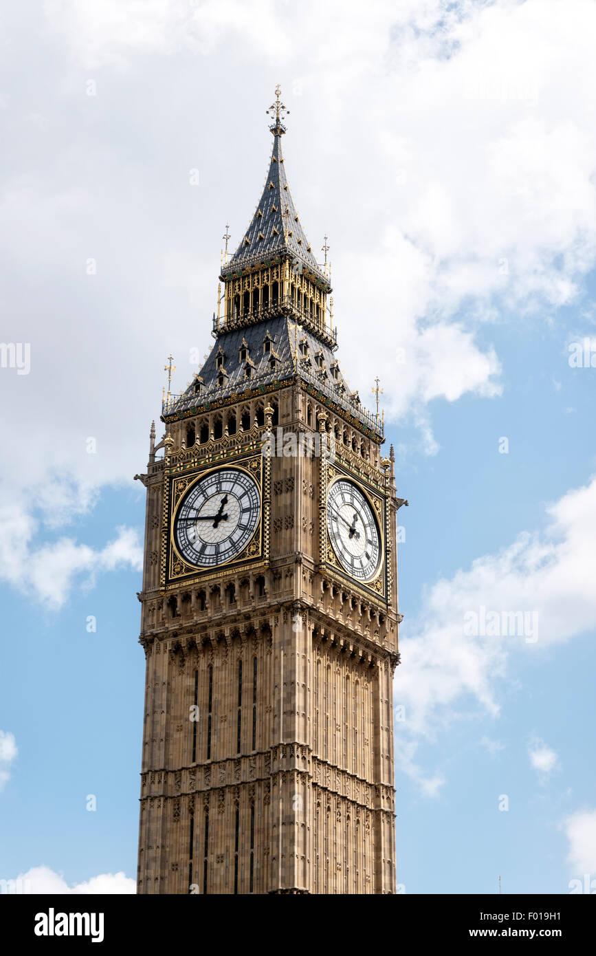 View of Big Ben Clock at the Parliament Buildings, London, England, UK. - Stock Image