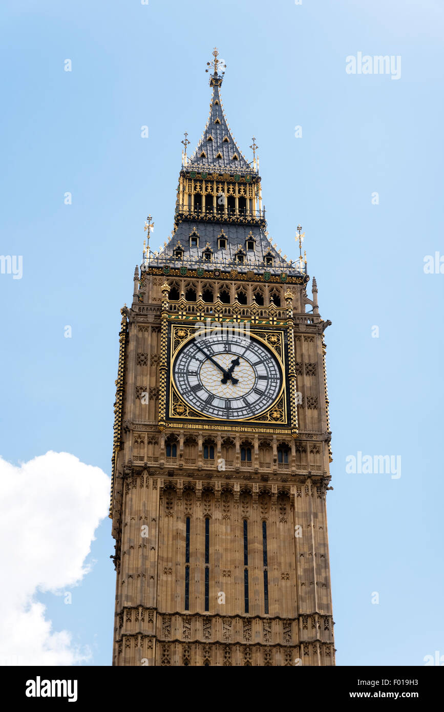 View of Big Ben Clock at the Parliament Buildings, London, England, UK. Stock Photo