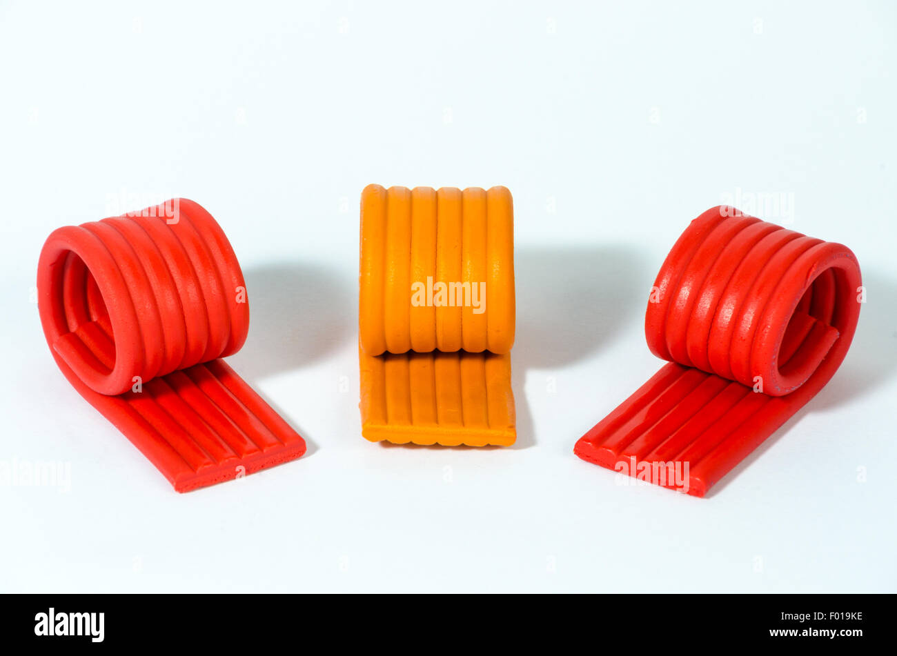 Red and Orange Modelling Clay - Stock Image