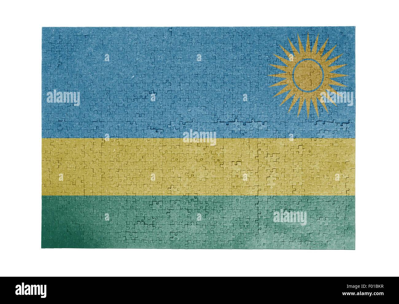 Large jigsaw puzzle of 1000 pieces - flag - Rwanda - Stock Image