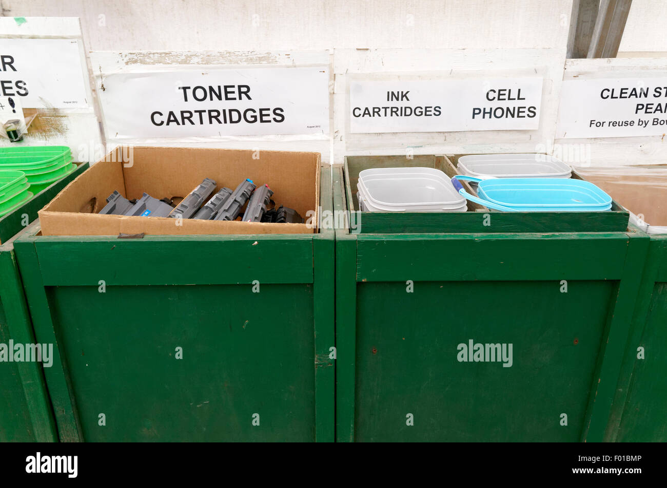 Electronics recycling bins at a recycling center on Bowen island, BC, Canada - Stock Image
