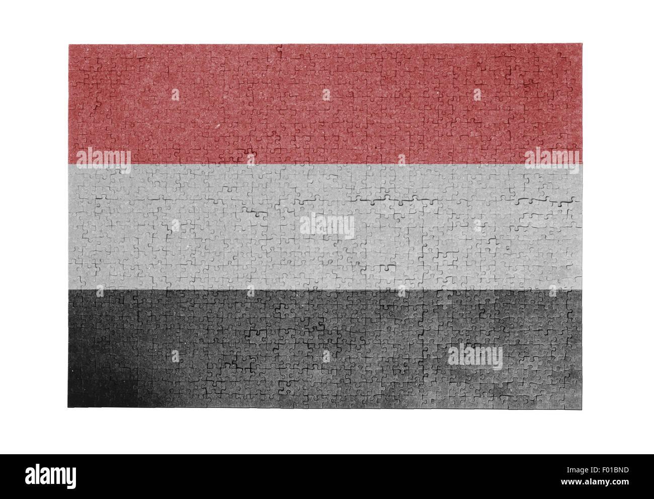 Large jigsaw puzzle of 1000 pieces - flag - Yemen Stock Photo