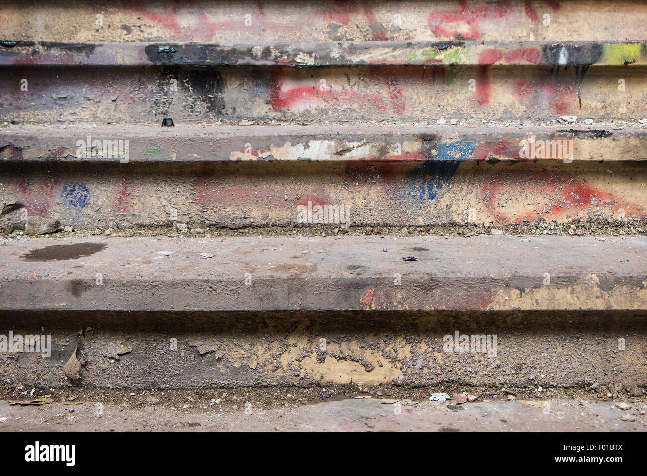 Close-up of a filthy and dirty stairway - Stock Image