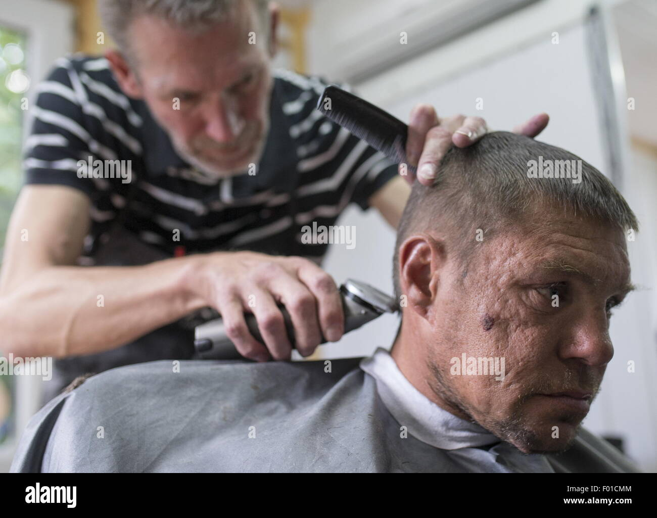 Moscow Russia 5th Aug 2015 A Man Getting A Haircut At The First