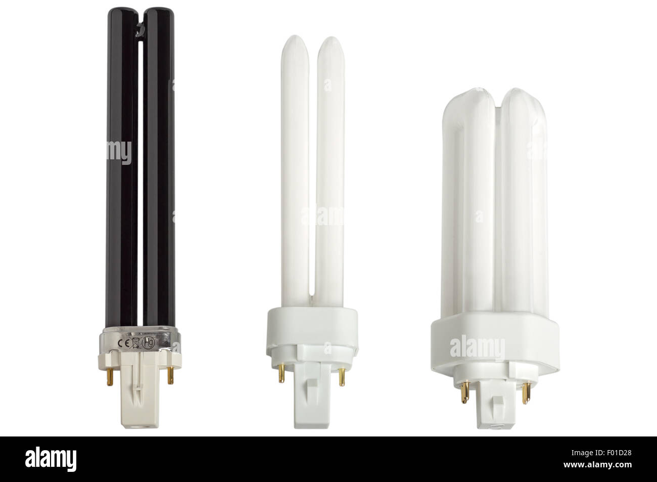 Compact fluorescent lamps. Black ultraviolet (UV) bulb. Isolated on white background. - Stock Image